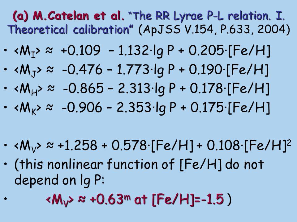 <MI> ≈ +0.109 – 1.132·lg P + 0.205·[Fe/H]
